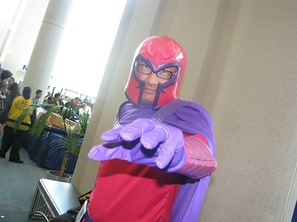 A man cosplaying as a famous mutant with magnetic powers.