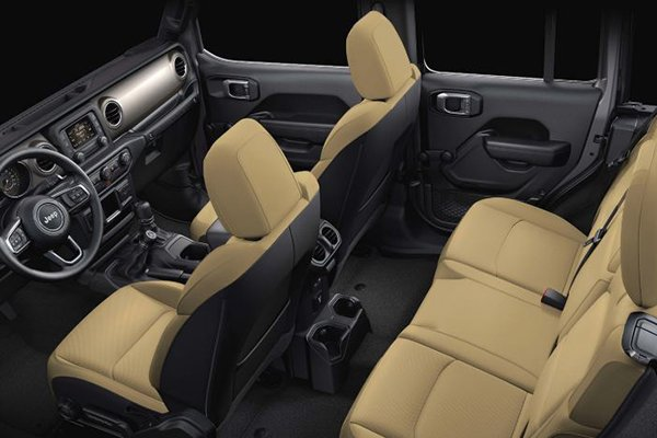 A picture of the Wrangler Rubicon's interior