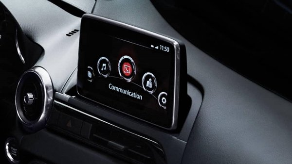 A closeup of the 2019 Mazda Miata RF's infotainment system