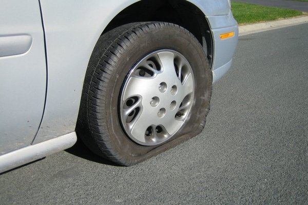 Car with flat tire