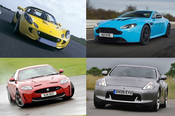 A collage of four different sports cars