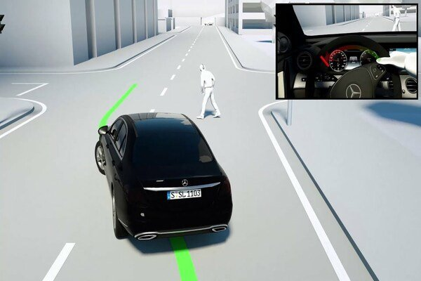 car avoiding a pedestrian illustration