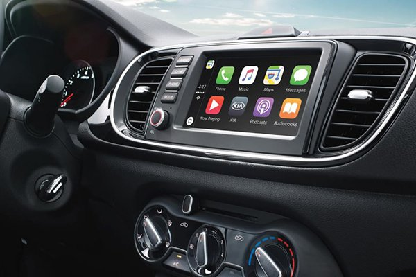 A close-up shot of the Kia Soluto 2019 infotainment touchscreen system
