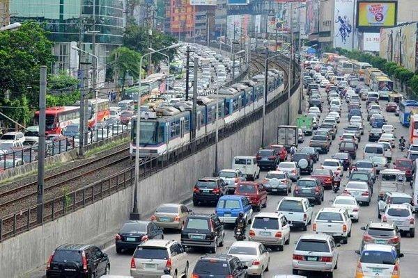 daytime traffic jam in metro manila, philippines
