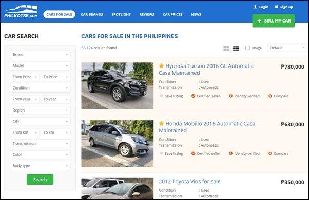 listings of cars for sale on philkotse.com