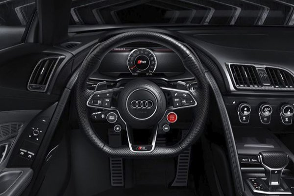 A picture of the Audi R8's multi-function steering wheel