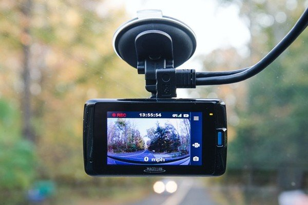 Dash cam installed in the car
