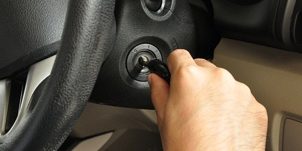 Driver touching the ignition