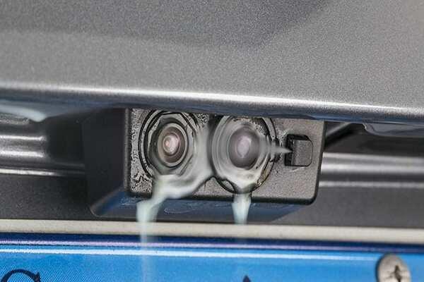 Backup camera being washed