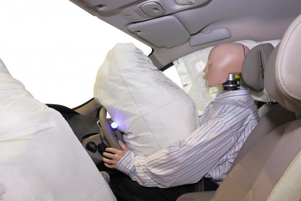 Mannequin and airbags deployed