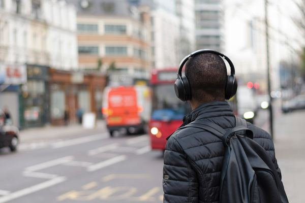 Man wearing earphones