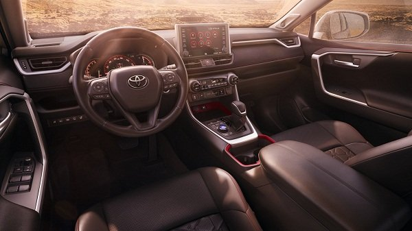A picture of the Rav4 TRD's interior.