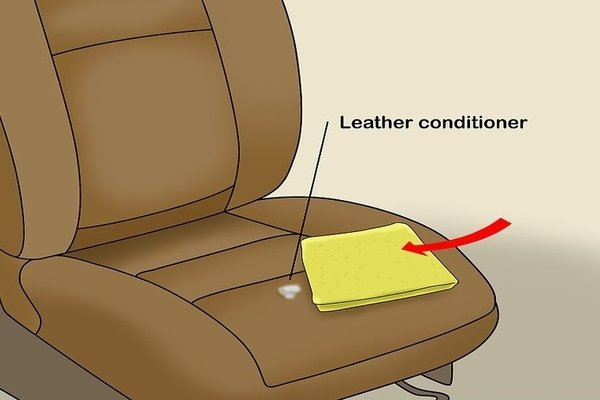 Leather conditioner on leather car seat