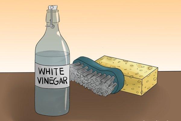 white vinegar and brush