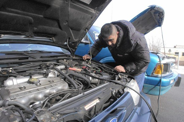 Man fixing the engine