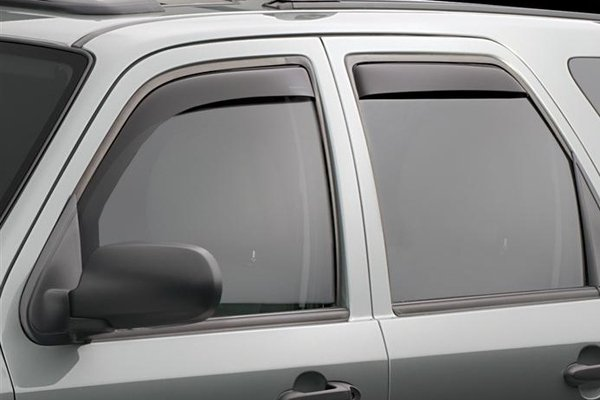 Gray car with wind deflectors