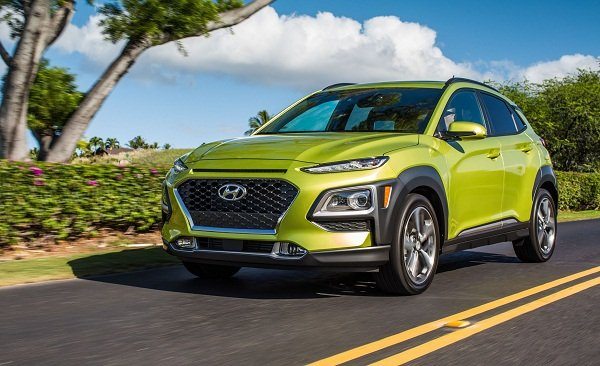 A picture of a Hyundai Kona in acid yellow