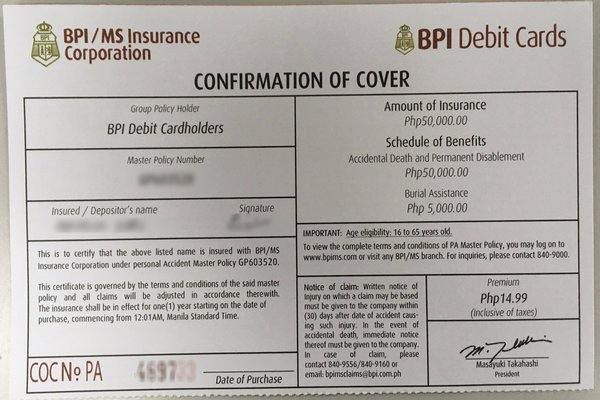 BPI MS insurance corporation confirmation cover