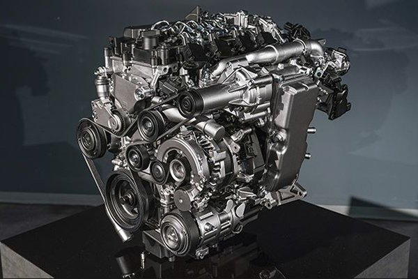 A picture of a Skyactiv-X engine