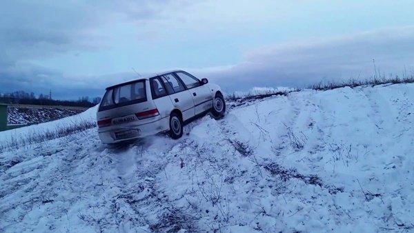 Skidding car on snow
