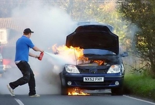 a fire extinguisher - car fire
