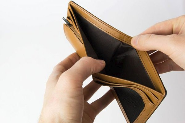 A picture of an empty wallet