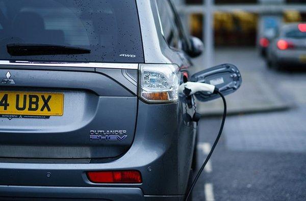 hybrid car is charging