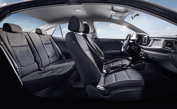 A picture of the Kia Rio's front and passenger cabin