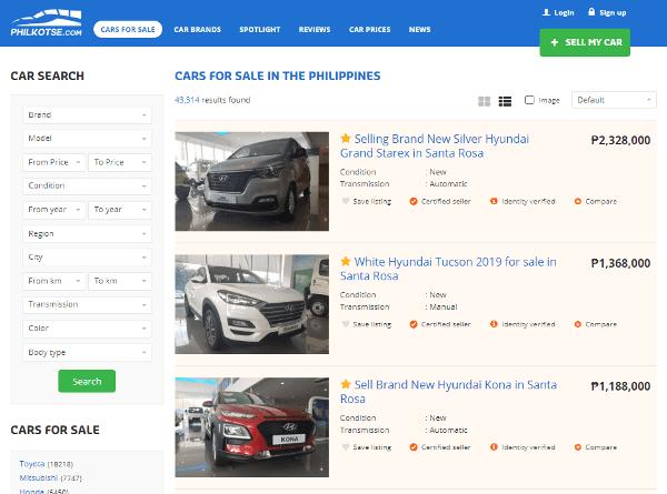 Car listing page for all Cars for sale on Philkotse.com