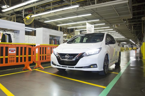 The Nissan Leaf in factory
