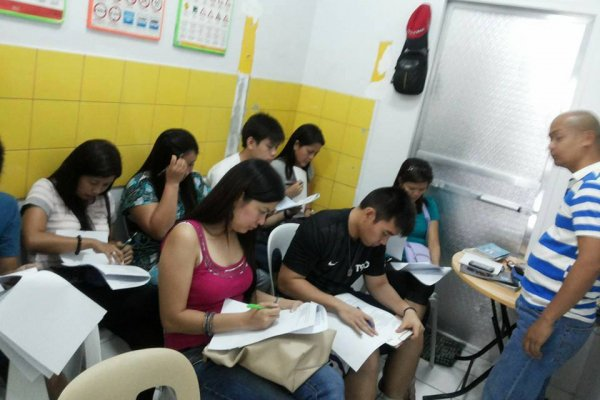 students at Jules driving school in pampanga taking exam