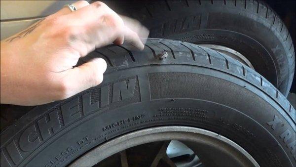 car tire puncture