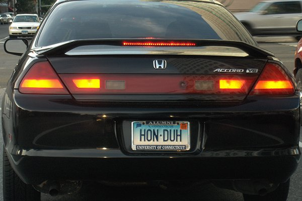 A picture of a vanity plate on a California registered Honda