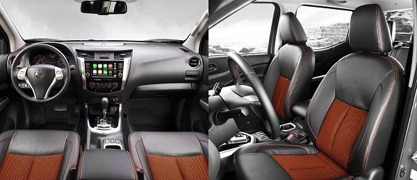 A picture of the interior of the Navara 2019 Black Edition