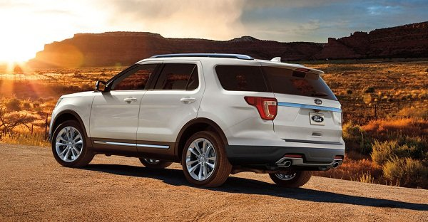 A picture of a white 2019 Ford Explorer rear view