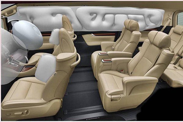 2020 Toyota Alphard's airbags in simulated deployment