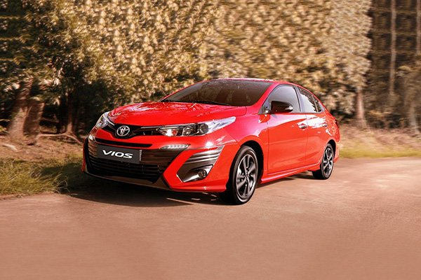 A picture of a red 2019 Toyota Vios