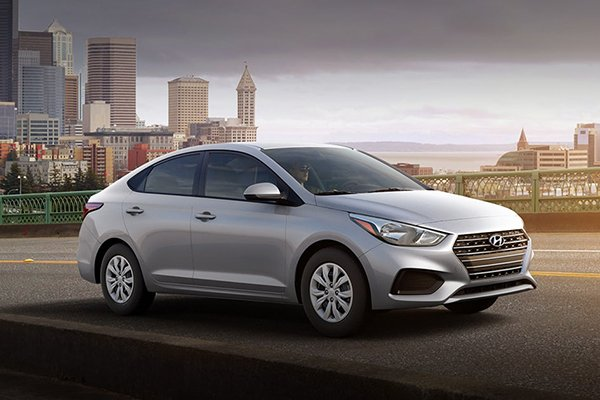The 2019 Hyundai Accent on a city road