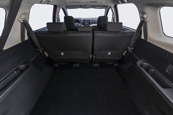 The TOyota Rush's interior viewed from the trunk
