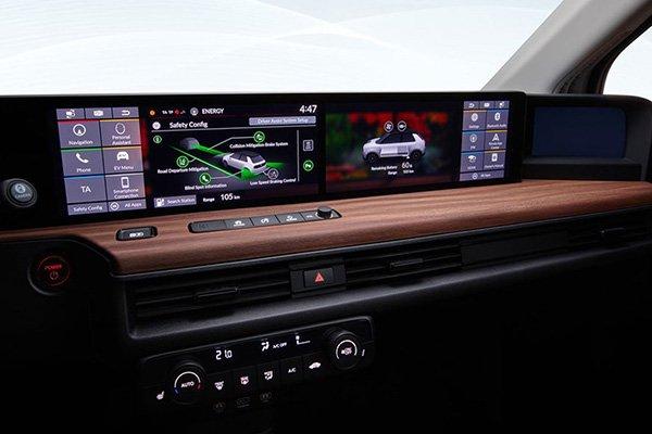 Honda E's dashboard and 12 inch touchscreen