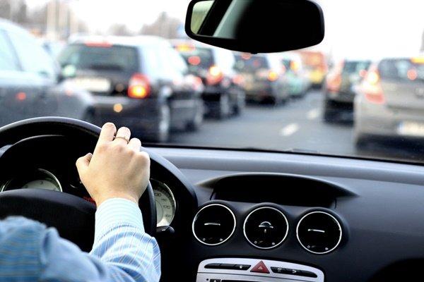man in stuck in traffic jams