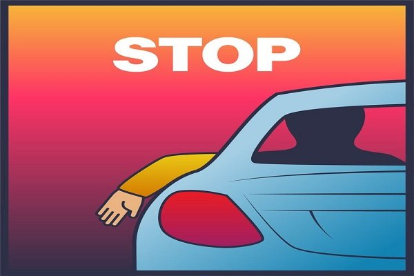Stopping or slowing down driving hand signs