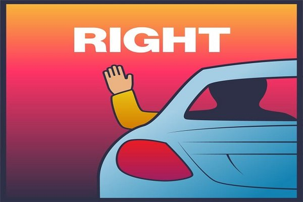 Right turn driving hand signs