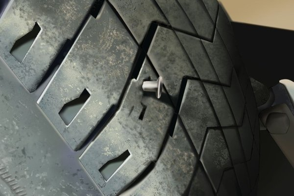 Punctured tradditional tire