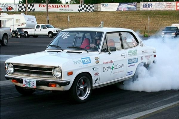 A picture of the electric powered White Zombie Datsun 1200