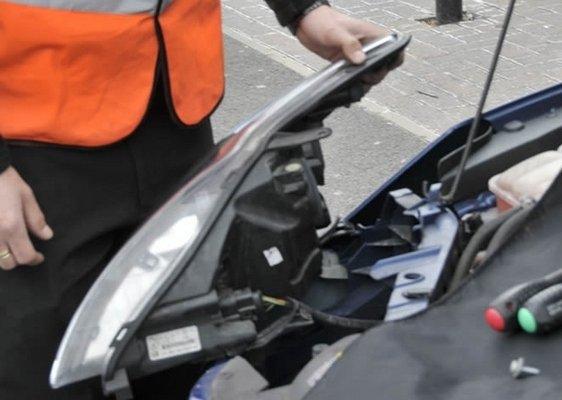 Removing the car headlight