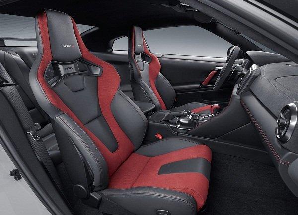 2020 Nissan GT-R NISMO highlighting the two-tone Recaro seats