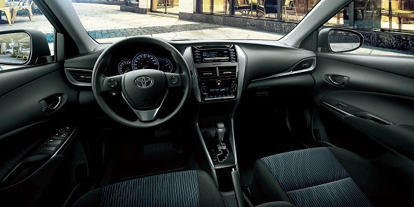 The front cabin of the Toyota Vios
