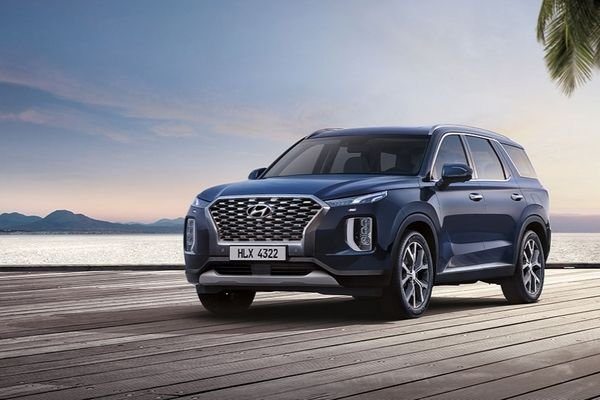A picture of the Hyundai Palisade parked on a wooden pier