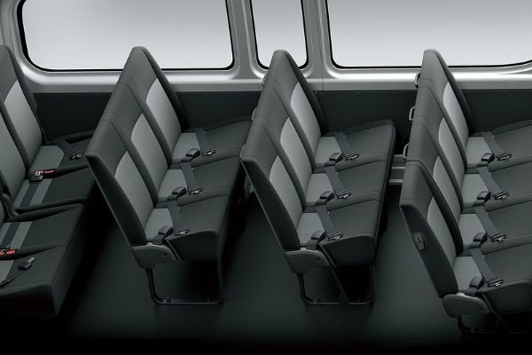 A picture of the interior of the Hiace Commuter